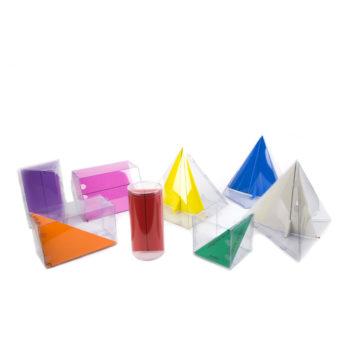 P120 - Sólidos Geométricos em PVC Transparente - Prismas + Pirâmides e Cilindro 1