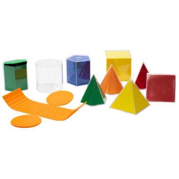 P126 - Sólidos Geométricos em Acrílico 10 peças com Planificações em Plástico 1